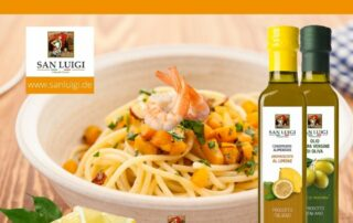 San Luigi - Spaghetti mit Kürbis, Limette und Garnelen