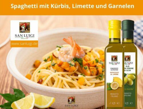 Spaghetti mit Kürbis, Limette und Garnelen | Spaghetti con zucca, lime e gamberi
