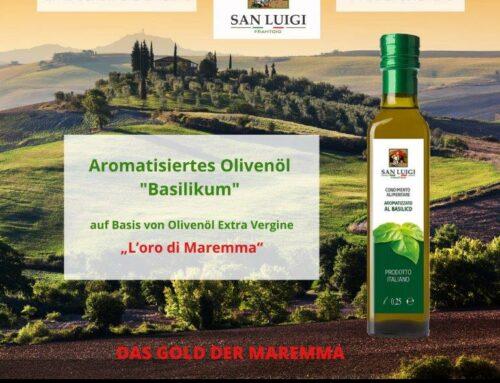 Aromatisiertes Olivenöl mit Basilikum