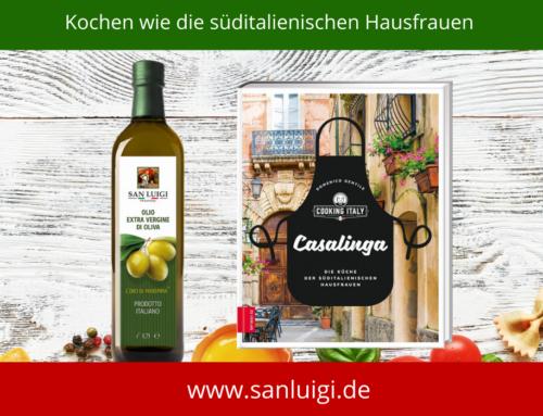 """Süditalienisch kochen mit dem Kochbuch """"Casalinga…""""  und dem Olivenöl von San Luigi"""